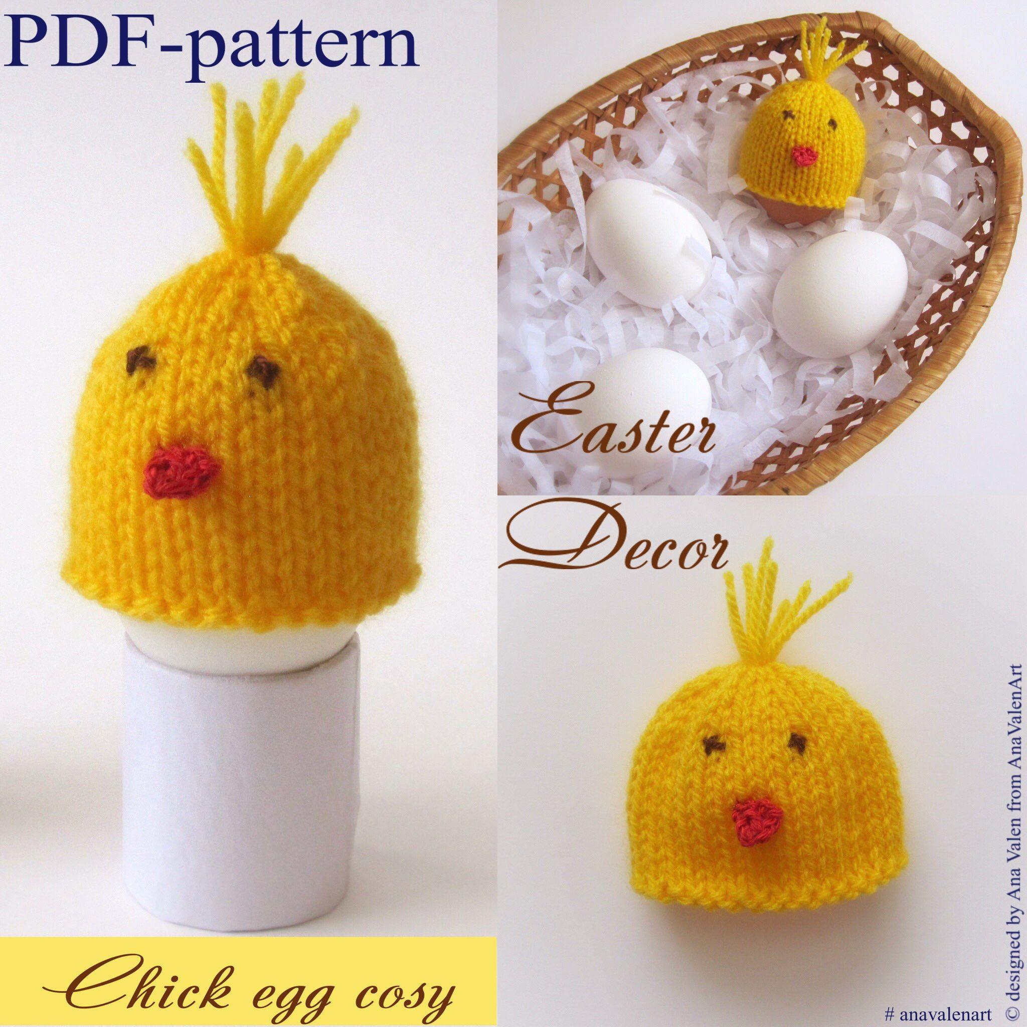 PDF-pattern Chick egg cosy Knitting Pattern Egg cozy Easter decor ...