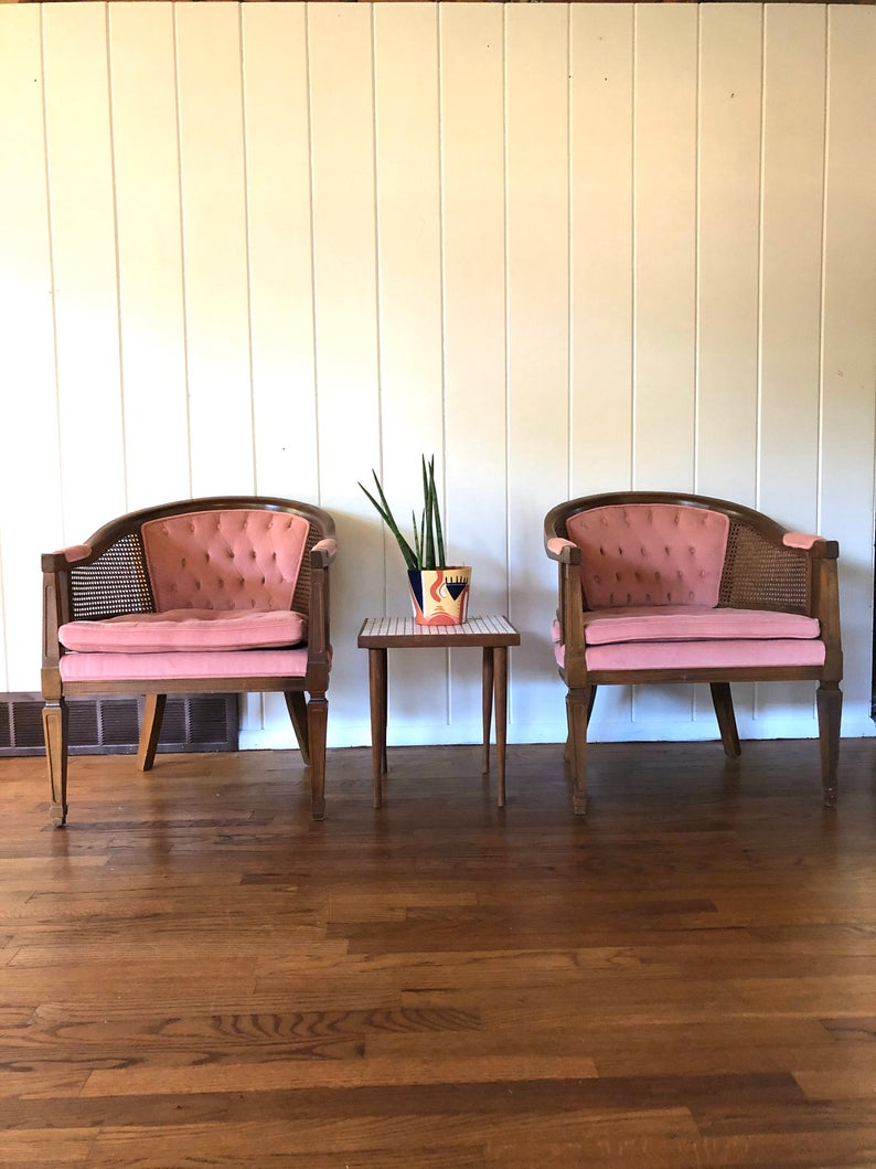Vintage Cane And Wood Pink Barrel Chair Pair Pink Club Etsy Barrel Chair Purchase Furniture Chair