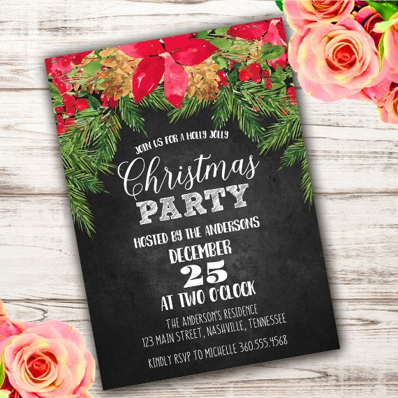 christmas party invitation template edit with adobe reader