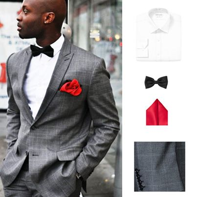 Stone gray suit, classy black bow tie, and bold red pocket square ...