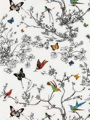 Schumacher Wallpaper Birds And Butterflies Multi On White