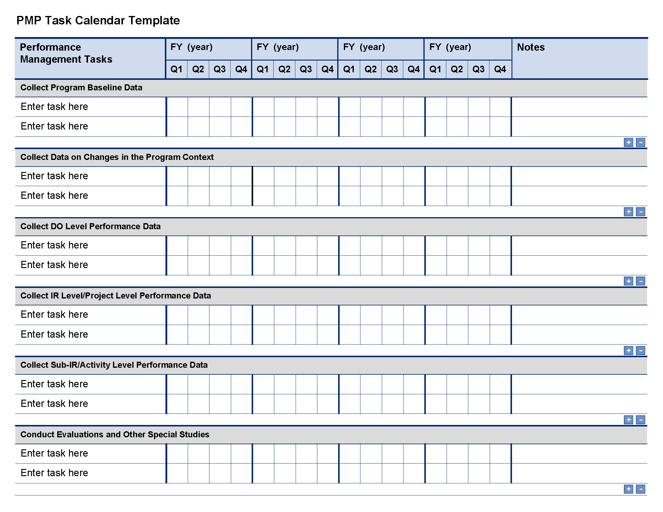 pmp task calendar template