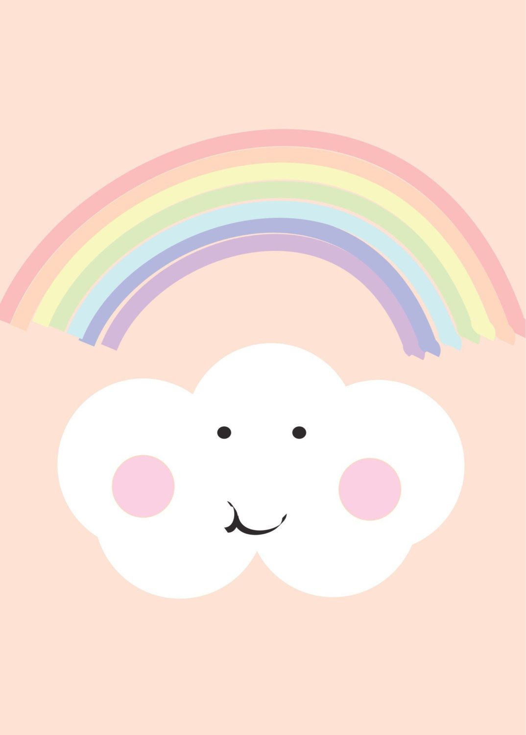 Rainbow and cloud peach print cute kids art pastel print for Rainbow wallpaper for kids room