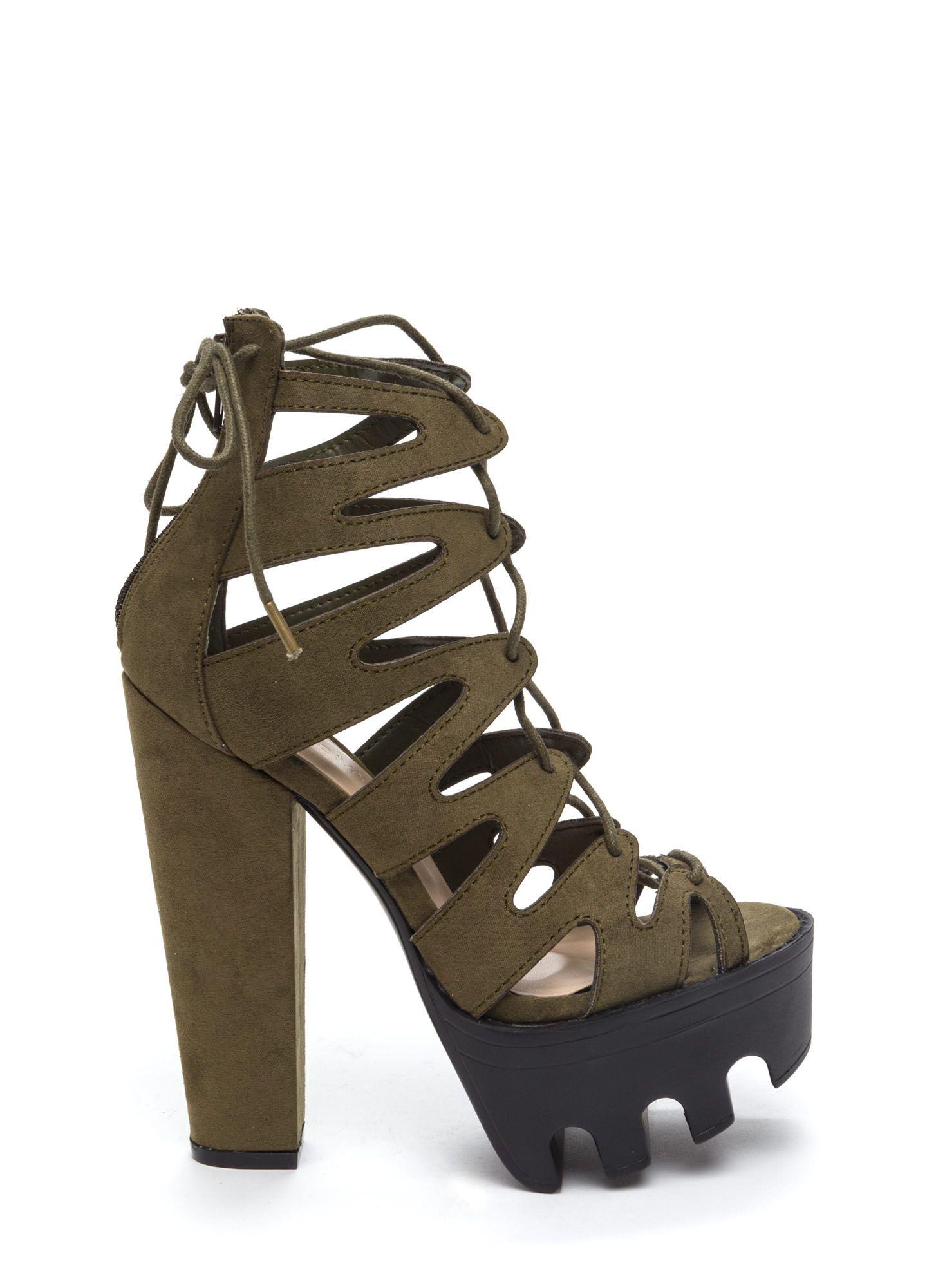 Get Laced Rugged Platform Heels BLACK TAUPE OLIVE - GoJane.com