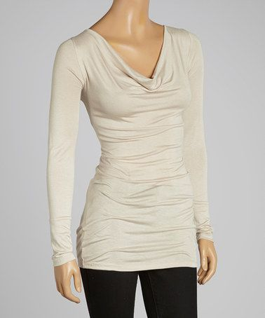 Loving this Taupe Drape Neck Tunic on #zulily! #zulilyfinds