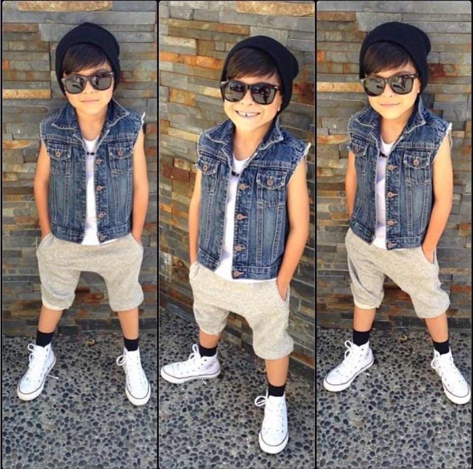Little Fashion Kid Boy Summer Style Cool Boys Jean Vest Khaki Color Cargo Capri And White