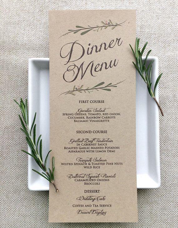 Wedding Menu Card Rustic Wedding Menu Cards Kraft Etsy In 2020 Wedding Table Menus Rustic Wedding Menu Wedding Menu Cards