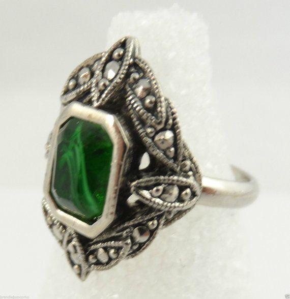 Vintage Avon Art Deco Emerald Ring Marcasite Ring Silver