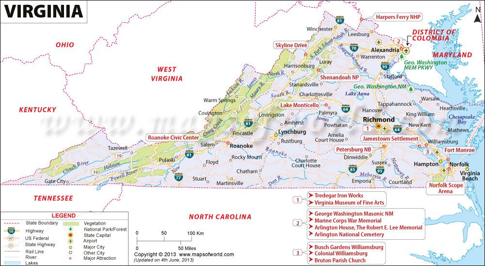 Virginia map showing the major travel attractions including ... on maryland virginia map of pa, map of maryland counties and cities, maryland virginia county maps,