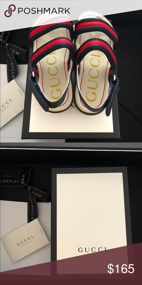 57c5485493e Toddler Girls Gucci Sandals Brand New!!! Navy and Red Toddler Girls Gucci  Sandals Size 9.5 Gucci Shoes Sandals   Flip Flops