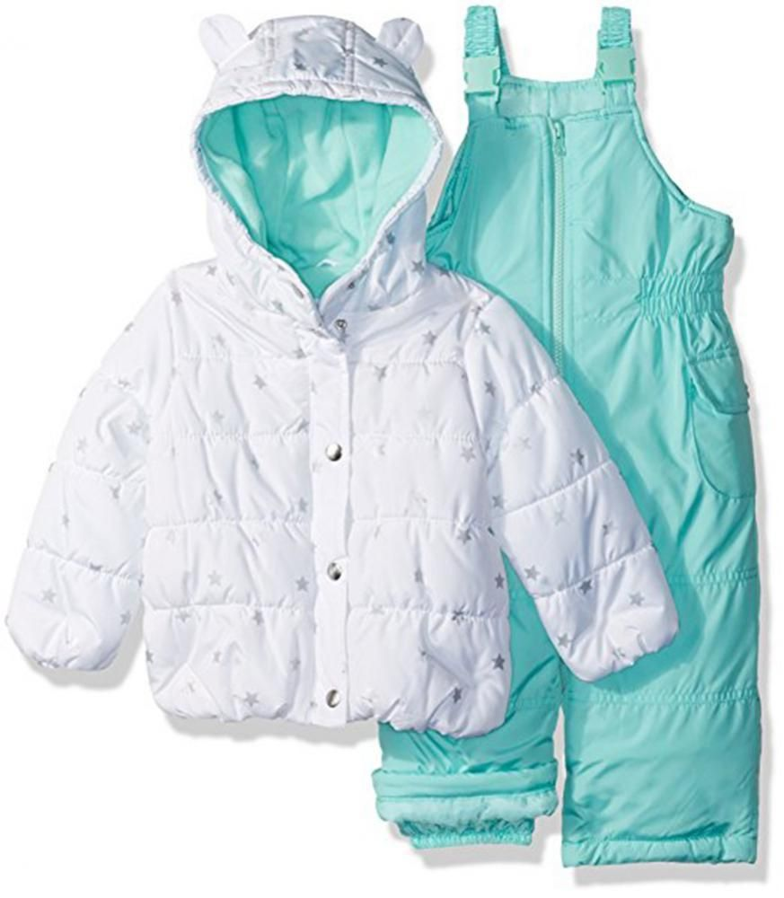 225292605 Carter s Infant Girls White   Mint 2pc Snowsuit Size 12M 18M 24M ...