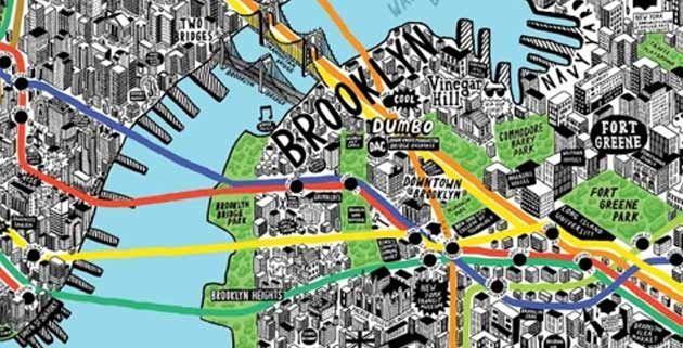 NYC handdrawn Map  Hand drawn