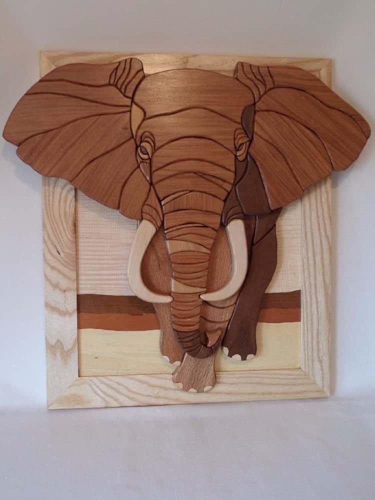 Wooden African Elephant Wall Art Wooden Wall Sculptures
