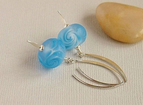 Etched Blue Glass Beaded Earrings Artisan by BeguiledByTheBead, £16.00