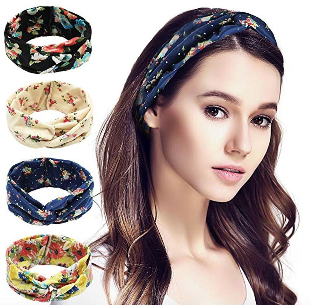 4 Pack Women Headband Boho Floal Style Criss Cross Head Wrap Hair Band