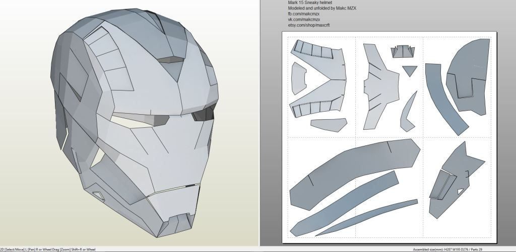 iron man suit template - papercraft pdo file template for iron man mark 15