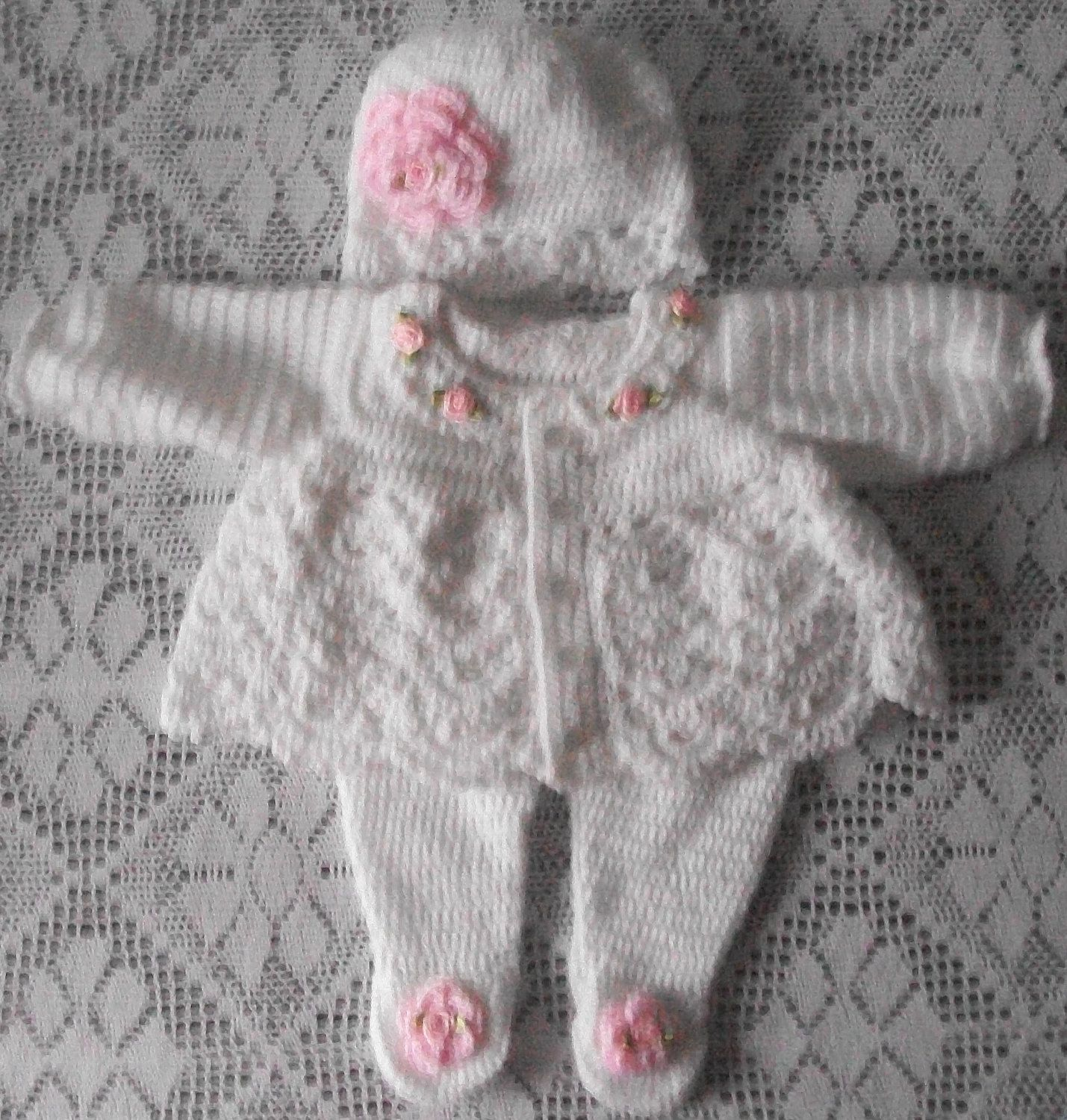 Crochet Baby Girl Sweater Set Layette with Leggings perfect for Baby ...
