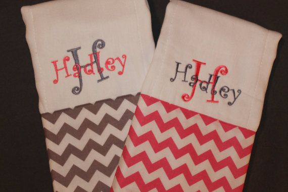 Set of 2 Personalized Chevron Burp Cloths-Baby Girl on Etsy, $18.00