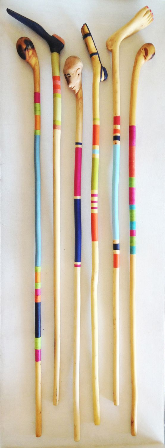 A collection of new painted handcarved walking sticks by Petros of Sekele Craft ...,  #Africa... #bemaltestöcke