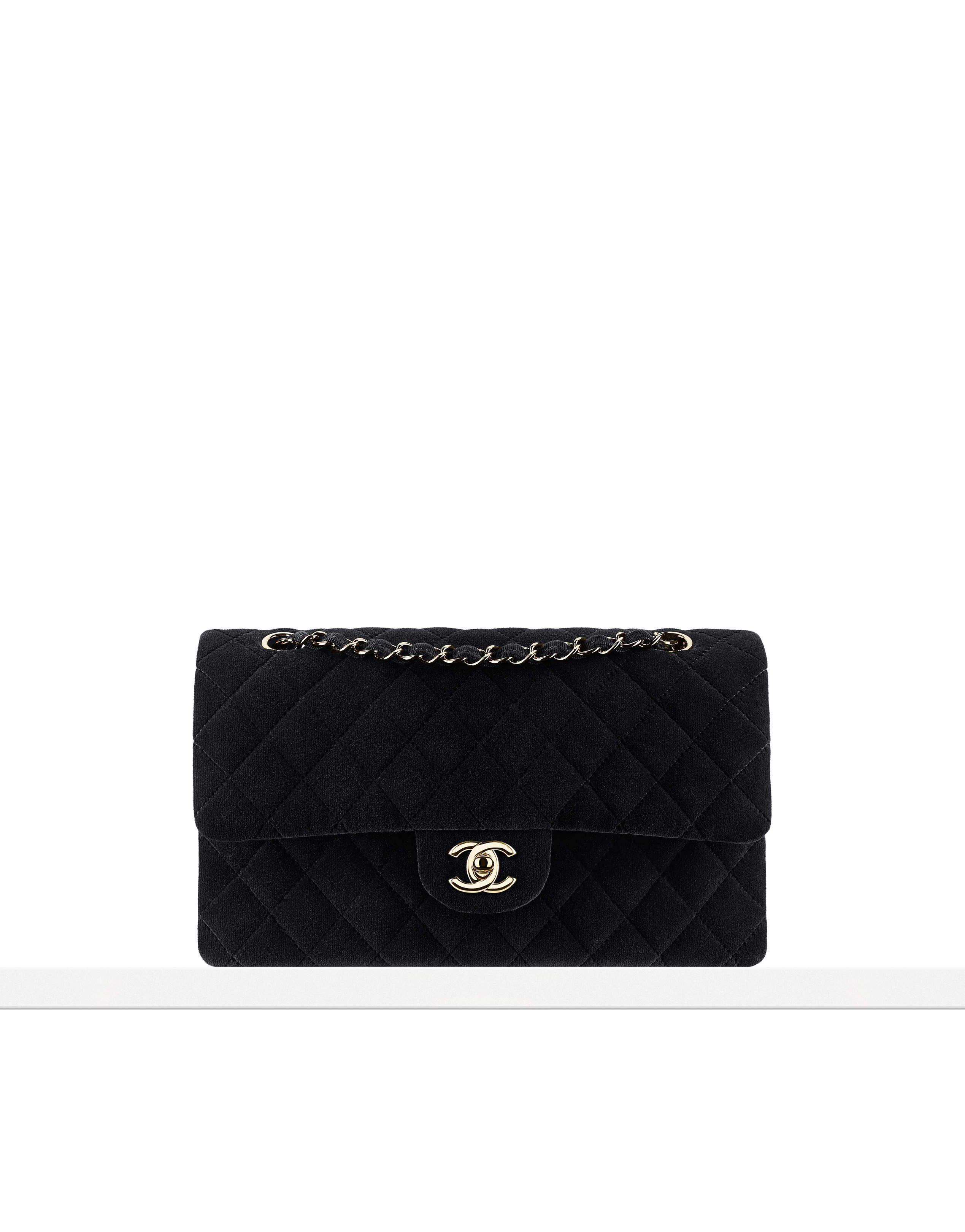 ac0bd6c5287c Chanel Classic Flap black velvet + gold hardware | pinterest: @Blancazh