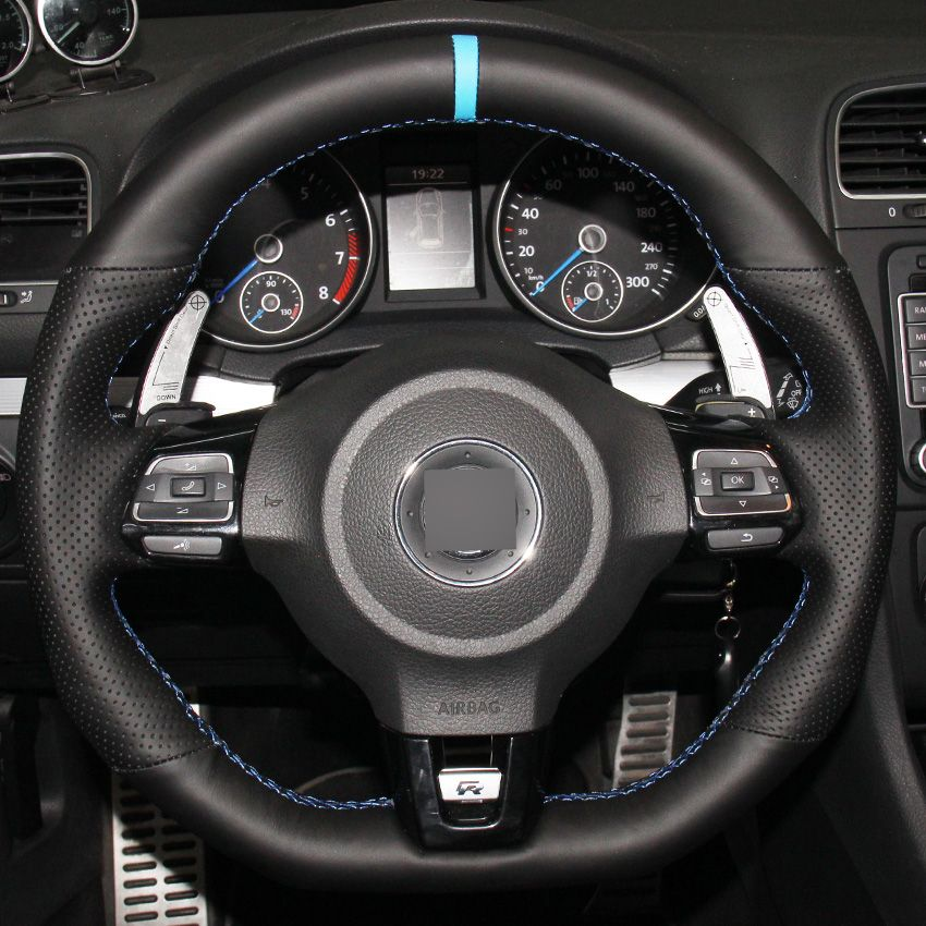 Hand Stitched Black Genuine Leather Car Steering Wheel Cover For Volkswagen Golf 6 Gti Mk6 Vw Polo Steering Wheel Cover Car Steering Wheel Cover Steering Wheel