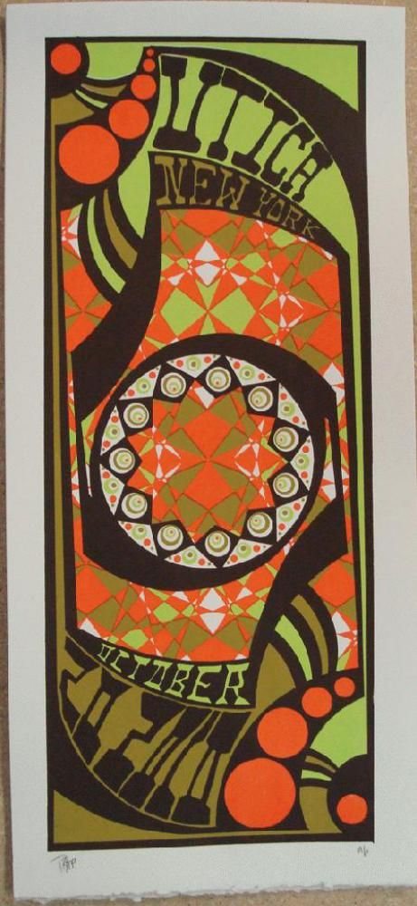 Original silkscreen concert poster Phish in Utica, NY in 2010. 10 x 21 inches. It is printed on Watercolor Paper with Acrylic Inks. The poster is signed as an AP by the artist Tripp.