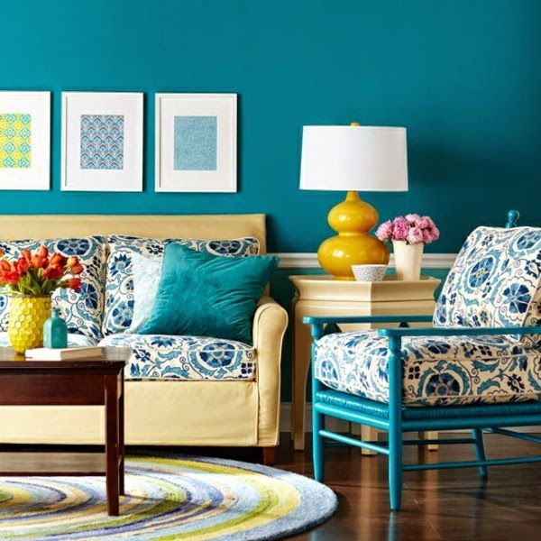 High Quality Vintage Living Room Paint Color Ideas, Bright Blue Walls And Textile  Patterns