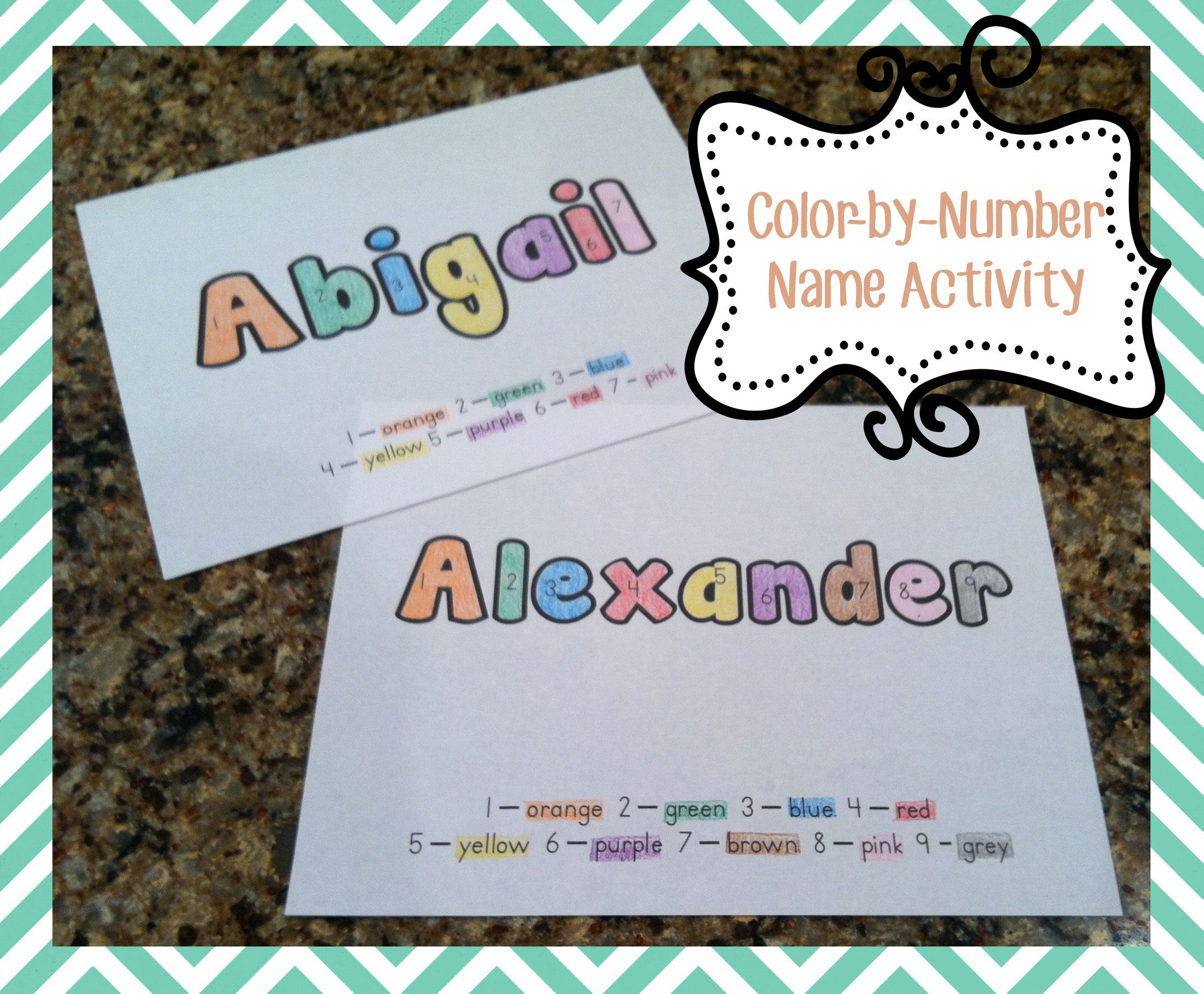 Color-by-Number Name Worksheets