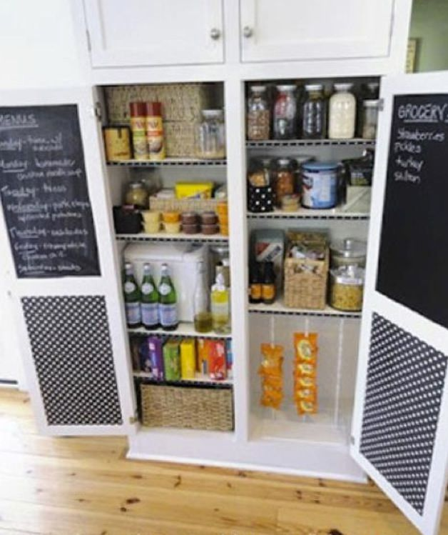 Awesome pantry idea, chalk and pin boards inside the doors Just