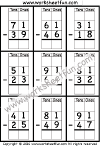 2 digit borrow subtraction regrouping 4 worksheets subtraction worksheets subtraction. Black Bedroom Furniture Sets. Home Design Ideas