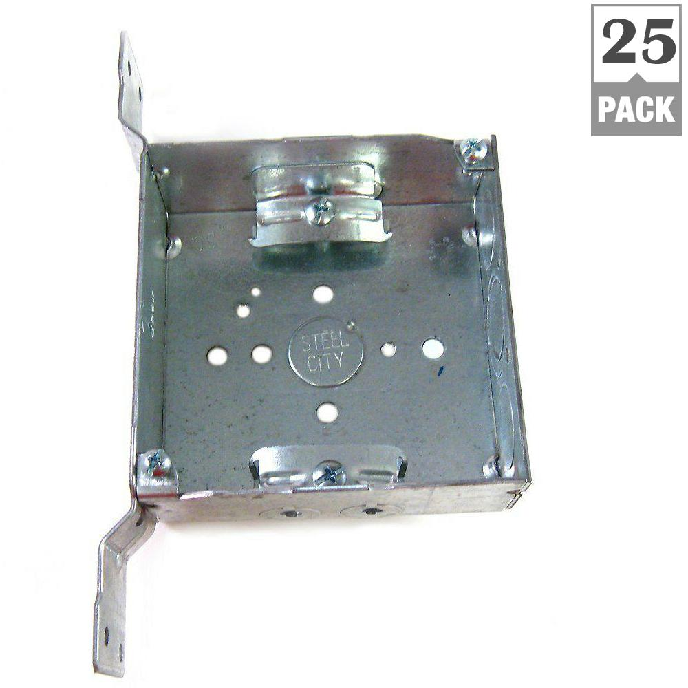 Steel City 2 Gang 4 In New Work Metal Square Electrical Box With Cv Bracket Case Of 25 52151cvn 25r Steel Electrical Switches Galvanized Steel