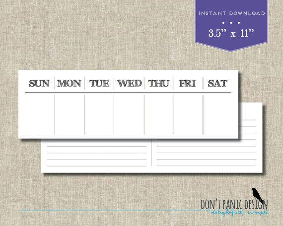 Printable Perpetual Weekly Calendar - Rustic Daily Calendar - daily calendar printable