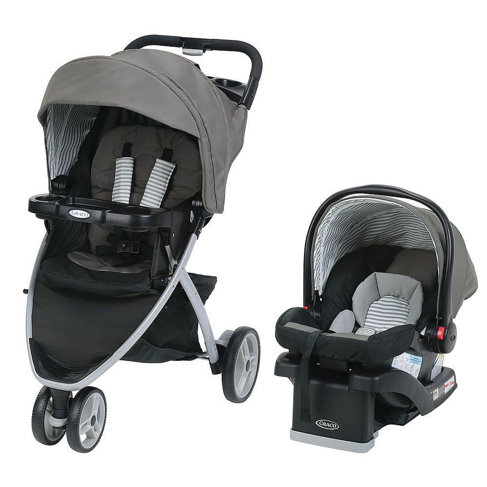 Graco® Pace Click Connect Travel System features a three-wheel baby stroller with a one-hand fold. It includes the top-rated SnugRide® Click Connect 30 LX infant car seat, designed to keep your baby rear-facing from 1.8-13.6 kg (4-30 lbs), which connects to the stroller with a secure, one-step attachment. This 3-wheel stroller has a locking front-swivel wheel for added maneuverability. There are also plenty of convenience features to keep you and baby happy, including parent's and child&#...