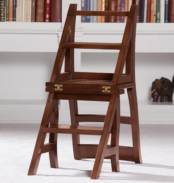 Library Ladder Chair This Ingenious Chair Converts To A Step Ladder With A Simple Flip Of The Chair Back 149 Ladder Chair Library Ladder Ladder