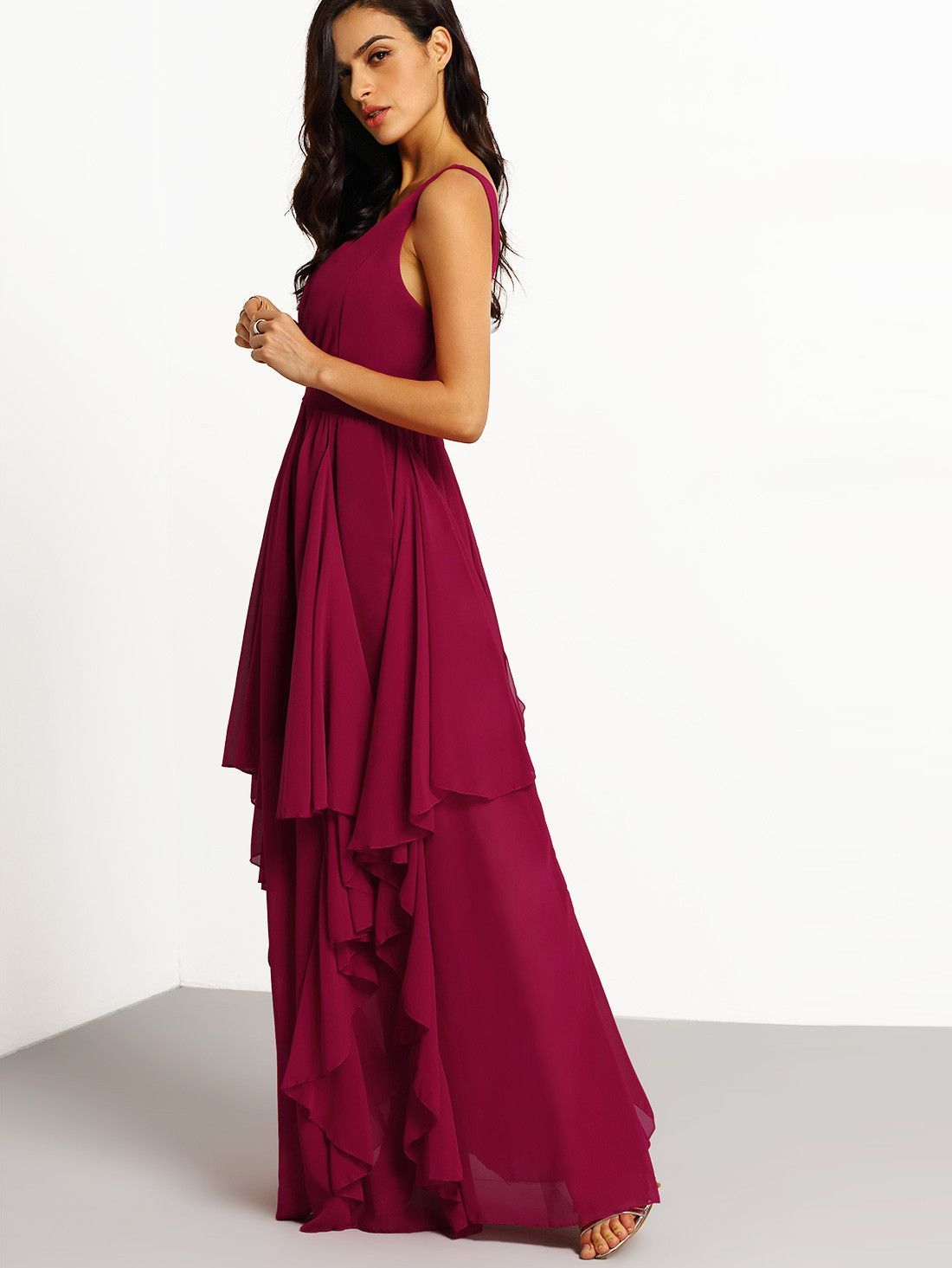 Fabric Has No Stretch Season Summer Pattern Type Plain Sleeve Length Sleeveless Color Burgundy Dresses Maxi Style Party Material