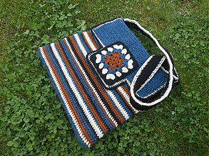 Kabelky - Háčkovaná taška Modro-hnedo-béžovo-čierna - 3894661_
