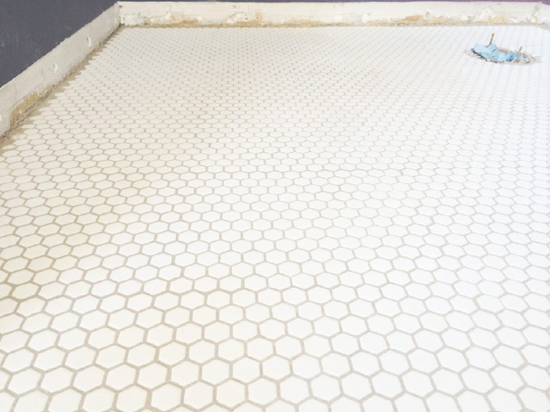 New floors white hex tile with light gray grout homeimprovement new floors white hex tile with light gray grout homeimprovement crab dailygadgetfo Choice Image