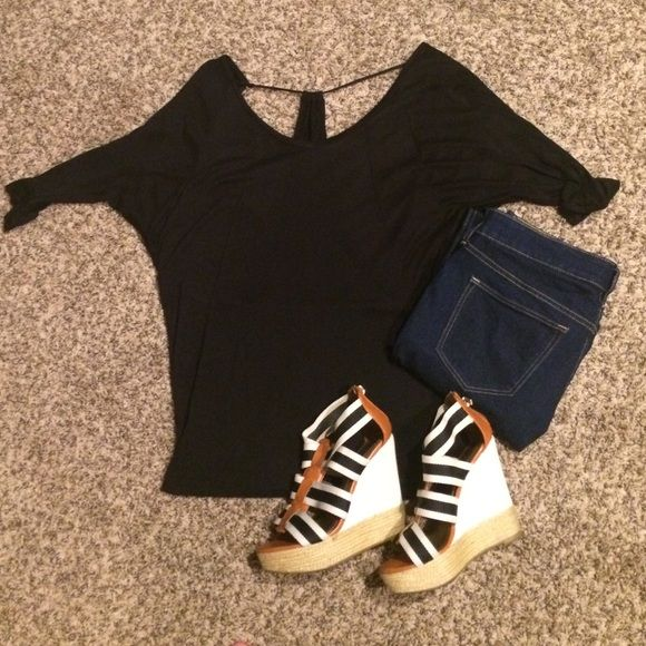 Flirty | Fun | Openback | Black | top Going out with the girls tonight?! This black top is sure to catch everyone's eye! Forever 21 Tops