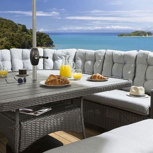 Huge Rattan Dining Set Corner Sofa Table benches Parasol ...