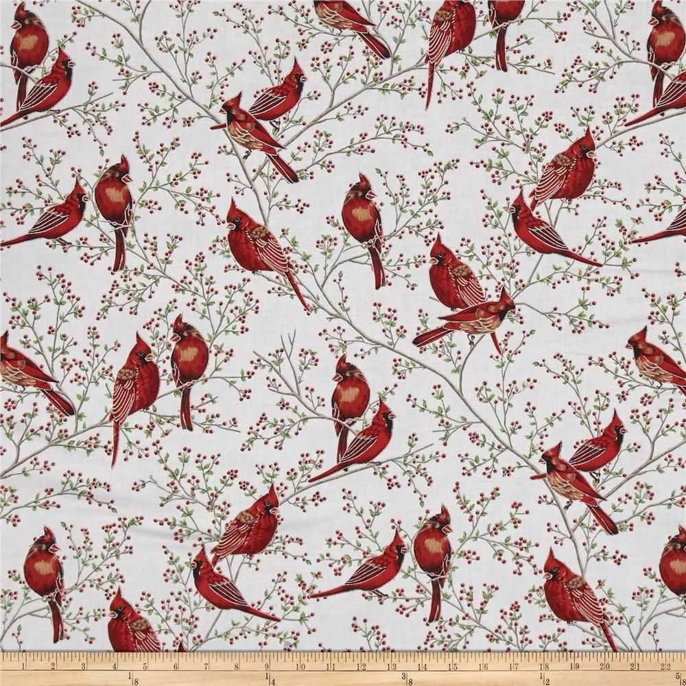 Good Tidings Cardinals Frost/Silver from @fabricdotcom From Hoffman ...