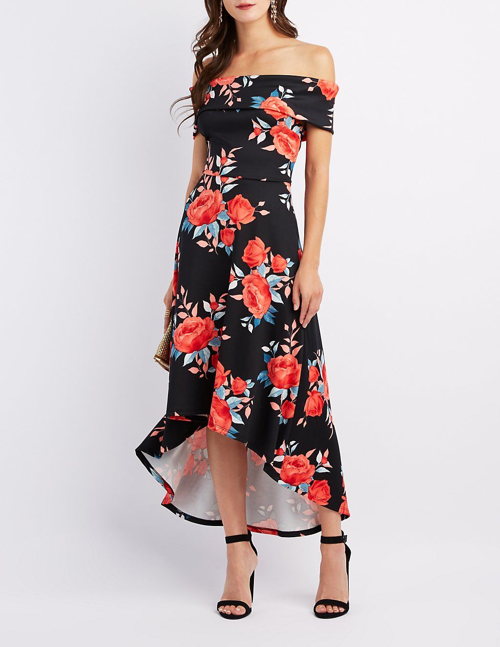 Floral Off-The-Shoulder High-Low Maxi | Charlotte Russe