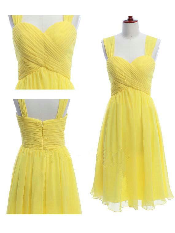 Short Bridesmaid Dress Yellow Chiffon Dress by LovingWeddings ... f8f58f6b0
