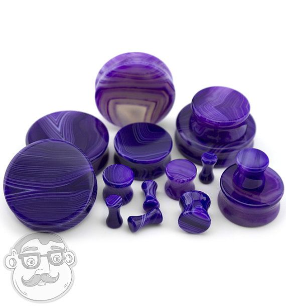 8G - 1 /& 12 Inch Sizes  Gauges Sold In Pairs Agate Stone Plugs