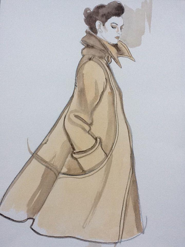 Swing camel coat Retro fashion art by Vyse richardvysefashionillustrationart.com