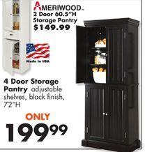 Ameriwood 4 Door Storage Pantry From Big Lots 199 99 Door Storage Big Lots Storage