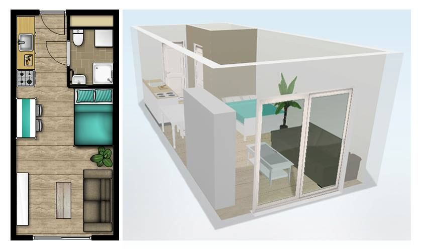 Afbeeldingsresultaat voor studio inrichten 20m2 op kamers