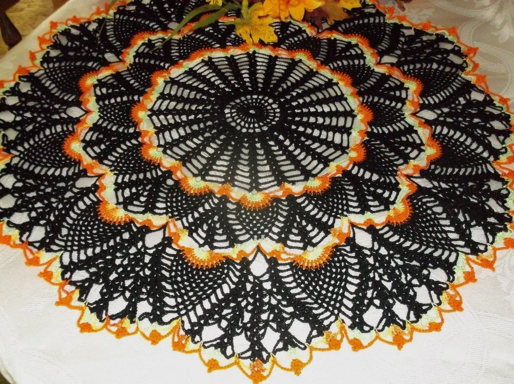 New Hand Crochet Fall Halloween Black Doily 22 23 \