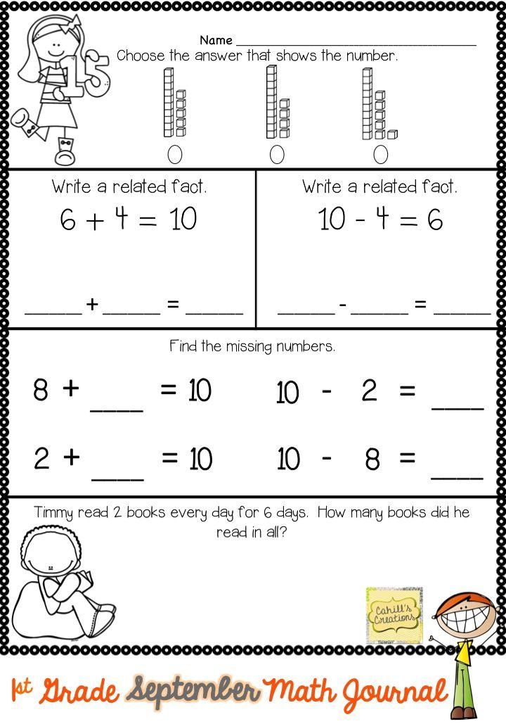 1st Grade September Math Journal | Math journals, Math and Daily math