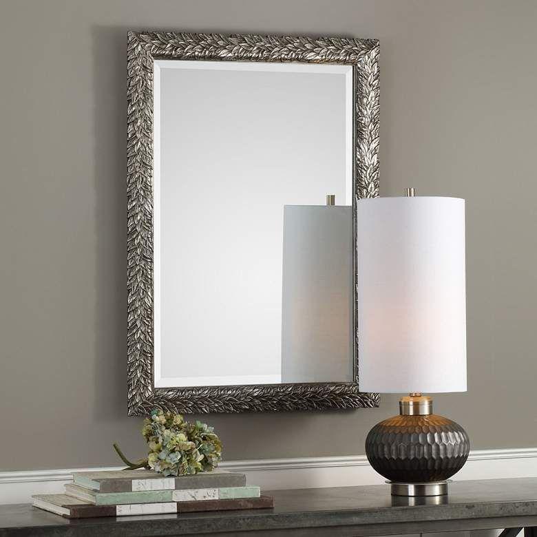 Evelina Metallic Silver 24 3 4 X 34 3 4 Wall Mirror 40r55 Lamps Plus Silver Wall Mirror Mirror Wall Traditional Wall Mirrors