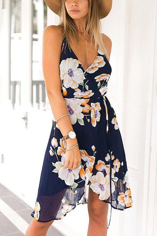 YoinsVestidos Wrap Print Front Midi Dress Floral Backless PkZiXu